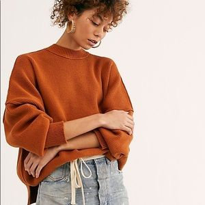 NEW Free People Easy Street Sweater Orange XS $128